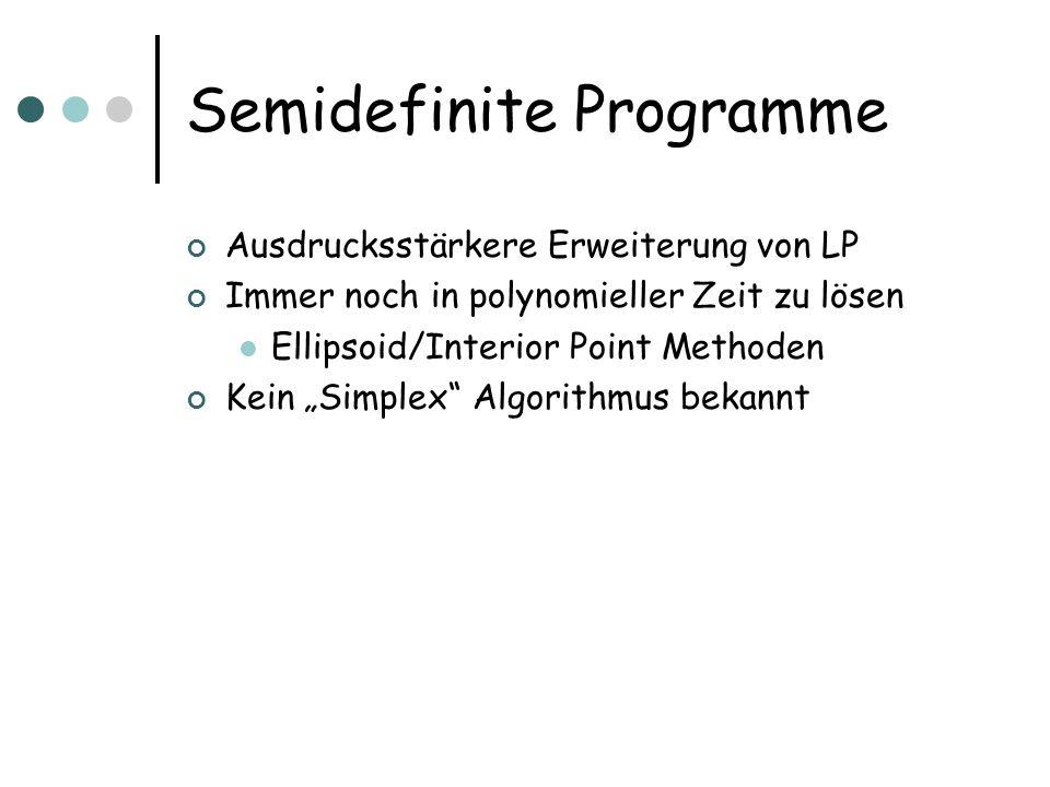 Semidefinite Programme Ausdrucksstärkere Erweiterung von LP Immer noch in polynomieller Zeit zu lösen Ellipsoid/Interior Point Methoden Kein Simplex A