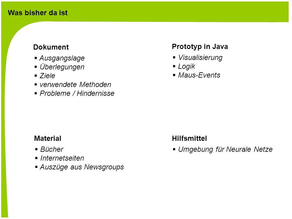 Was bisher da ist Dokument Ausgangslage Überlegungen Ziele verwendete Methoden Probleme / Hindernisse Prototyp in Java Visualisierung Logik Maus-Events Material Bücher Internetseiten Auszüge aus Newsgroups Hilfsmittel Umgebung für Neurale Netze