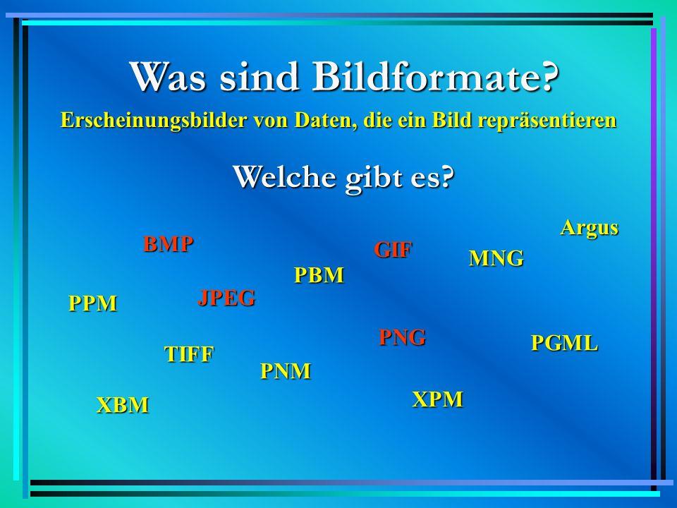 BMP BMP = Bitmap 1990 unter Windows 3.0 entstanden Bilder und Grafiken auf der Basis von Bits Bilder werden beim Speichern 1:1 behandelt monochrome und Graustufen-Bilder können kodiert werden Vorteil: leichte Erzeugung Nachteil: Größe