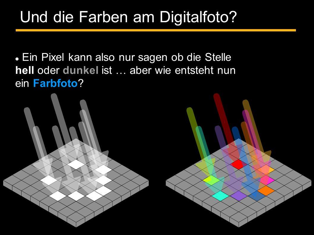 Und die Farben am Digitalfoto? Ein Pixel kann also nur sagen ob die Stelle hell oder dunkel ist … aber wie entsteht nun ein Farbfoto?