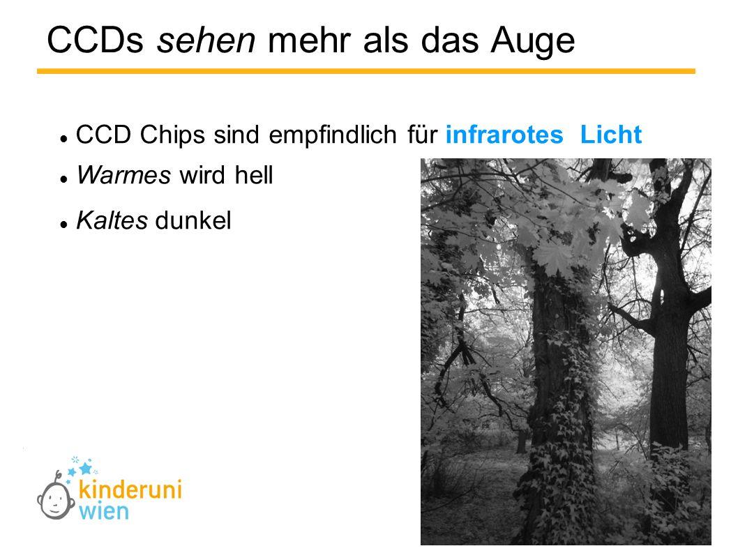 CCDs sehen mehr als das Auge CCD Chips sind empfindlich für infrarotes Licht Warmes wird hell Kaltes dunkel