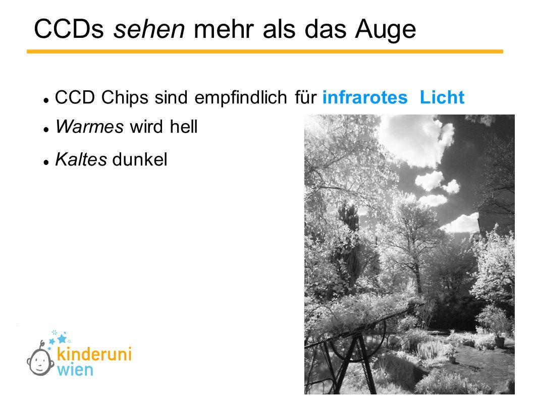 CCD Chips sind empfindlich für infrarotes Licht Warmes wird hell Kaltes dunkel CCDs sehen mehr als das Auge