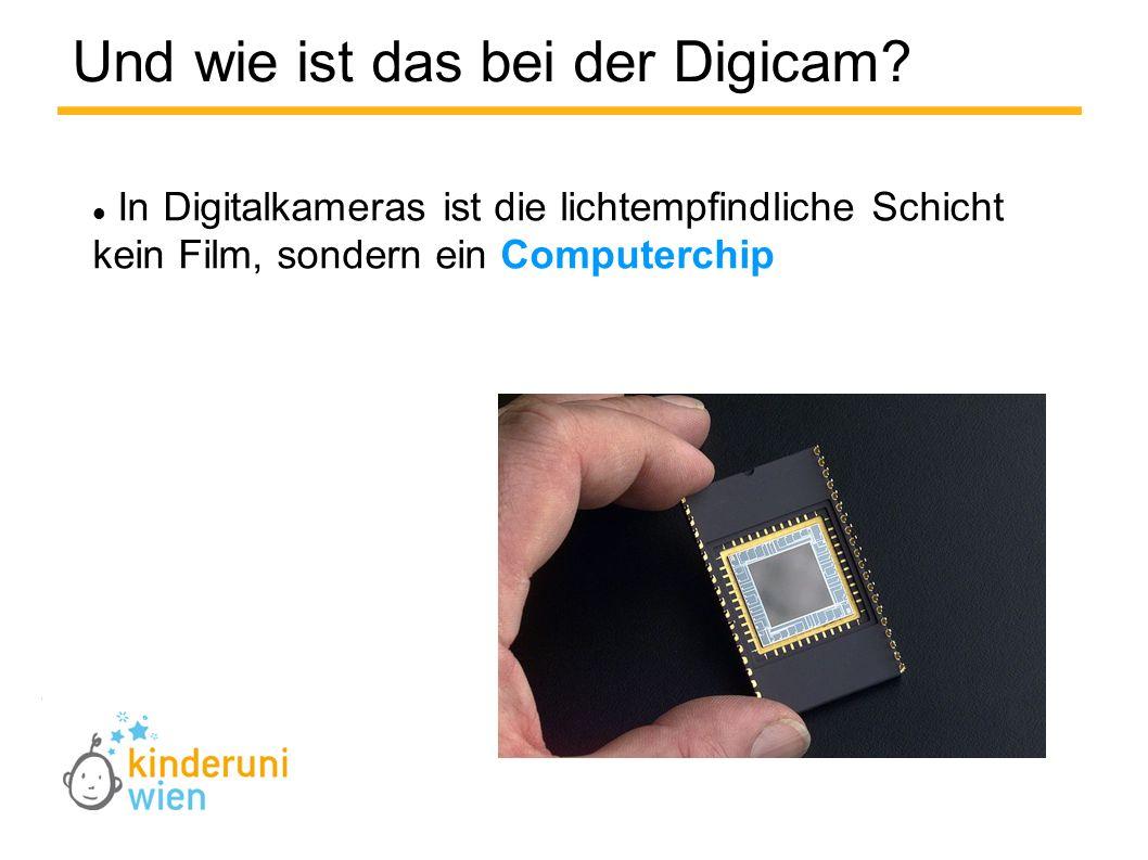 Und wie ist das bei der Digicam? In Digitalkameras ist die lichtempfindliche Schicht kein Film, sondern ein Computerchip