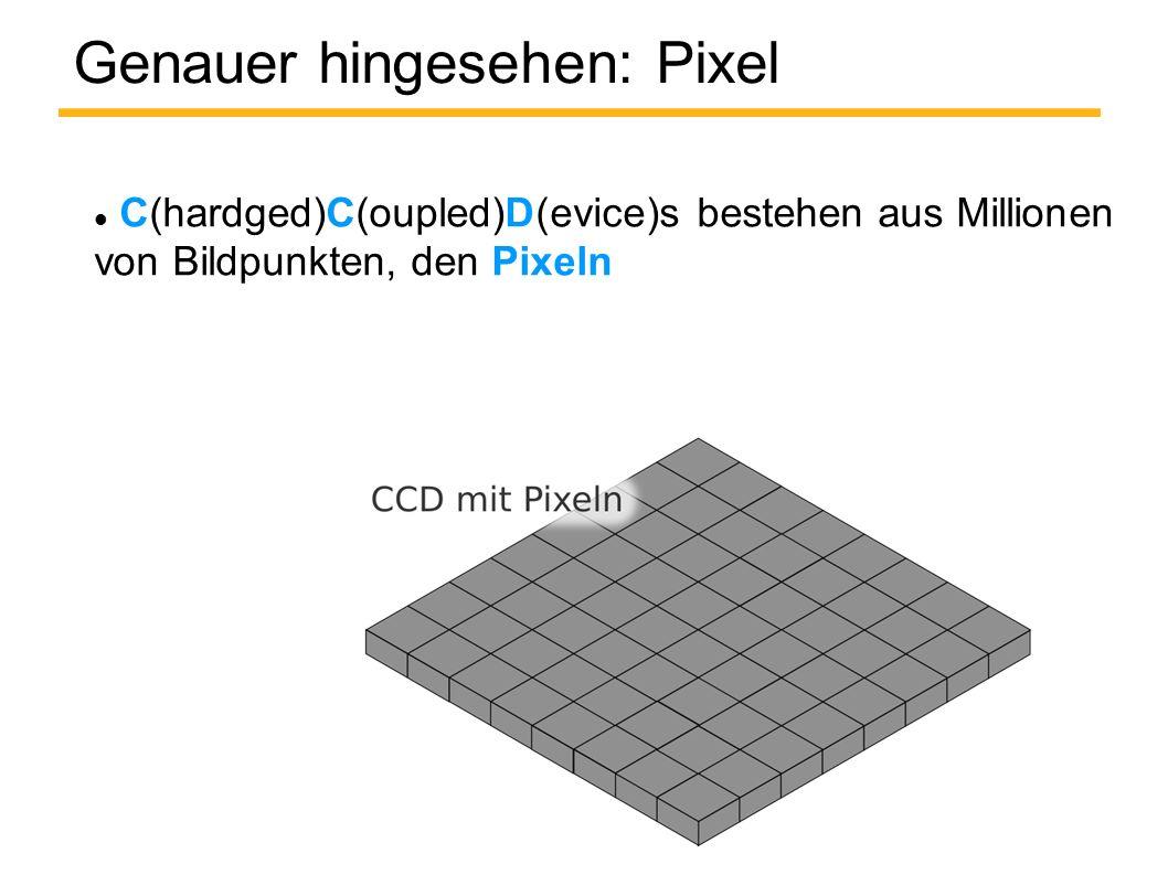 Genauer hingesehen: Pixel C(hardged)C(oupled)D(evice)s bestehen aus Millionen von Bildpunkten, den Pixeln