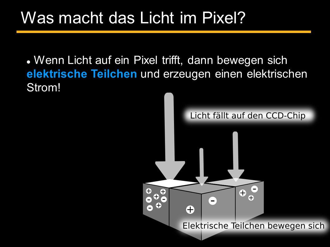 Was macht das Licht im Pixel? Wenn Licht auf ein Pixel trifft, dann bewegen sich elektrische Teilchen und erzeugen einen elektrischen Strom!
