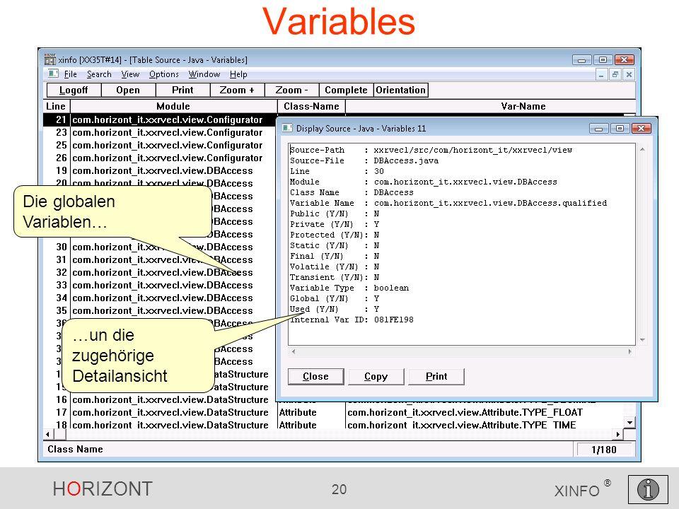 HORIZONT 20 XINFO ® Variables Die globalen Variablen… …un die zugehörige Detailansicht