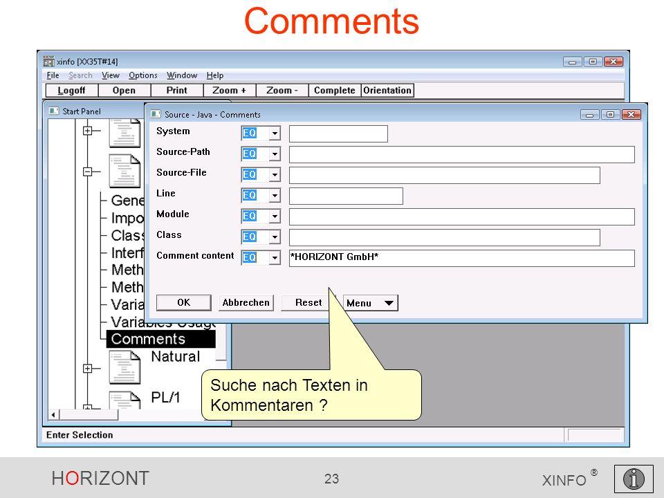 HORIZONT 23 XINFO ® Comments Suche nach Texten in Kommentaren ?