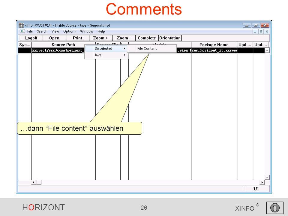 HORIZONT 26 XINFO ® Comments …dann File content auswählen