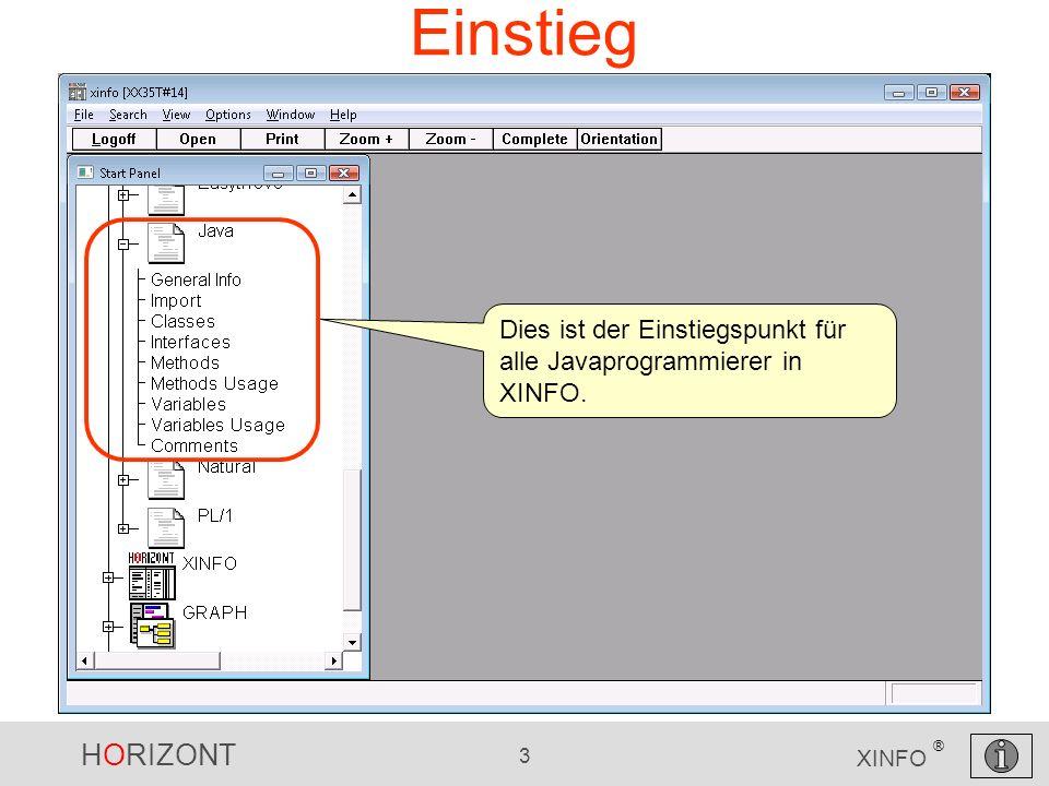 HORIZONT 3 XINFO ® Einstieg Dies ist der Einstiegspunkt für alle Javaprogrammierer in XINFO.