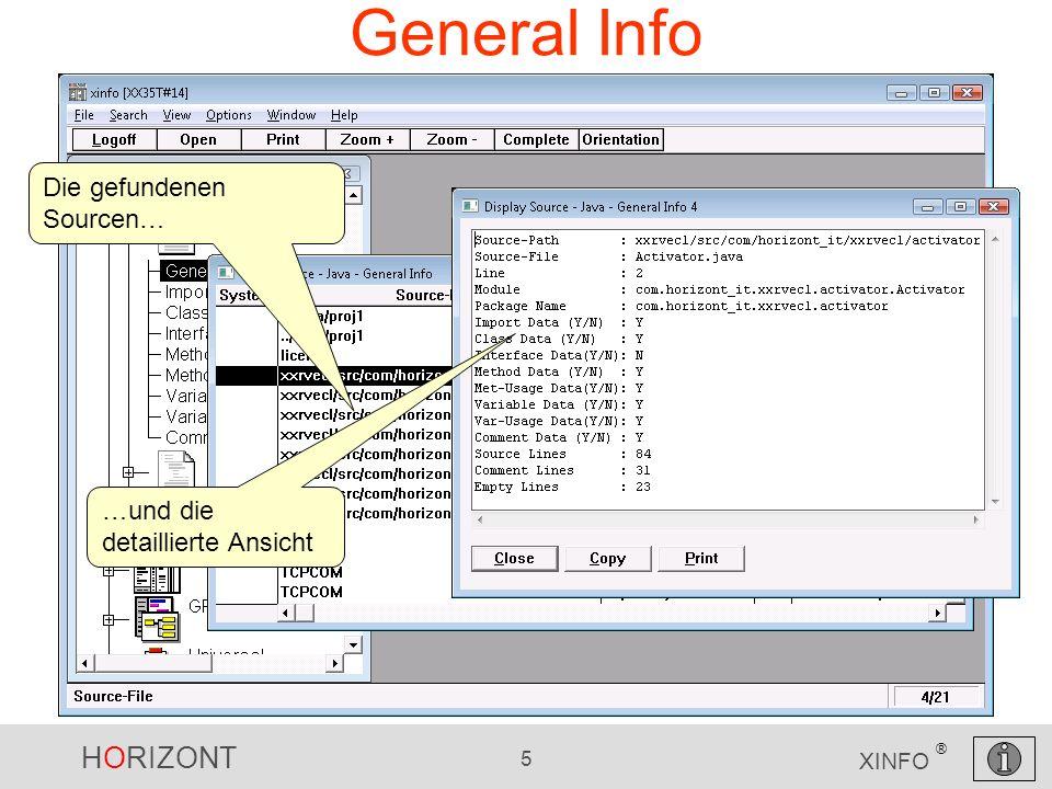 HORIZONT 5 XINFO ® General Info Die gefundenen Sourcen… …und die detaillierte Ansicht