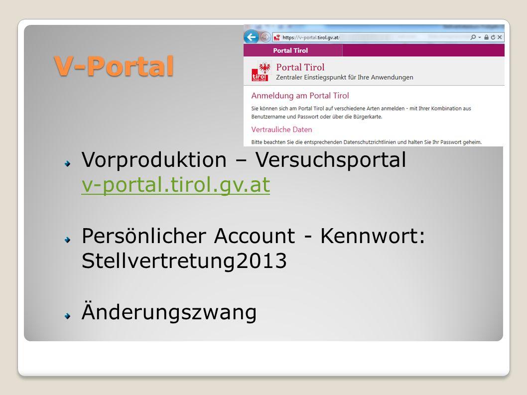 V-Portal Vorproduktion – Versuchsportal v-portal.tirol.gv.at v-portal.tirol.gv.at Persönlicher Account - Kennwort: Stellvertretung2013 Änderungszwang