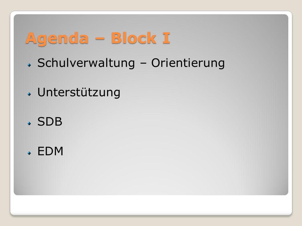 Agenda – Block I Schulverwaltung – Orientierung Unterstützung SDB EDM