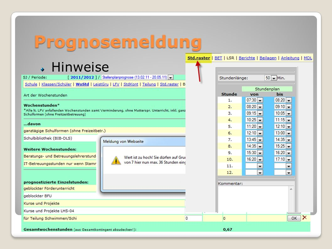Prognosemeldung Hinweise Stundentafel (VS) Stundenraster