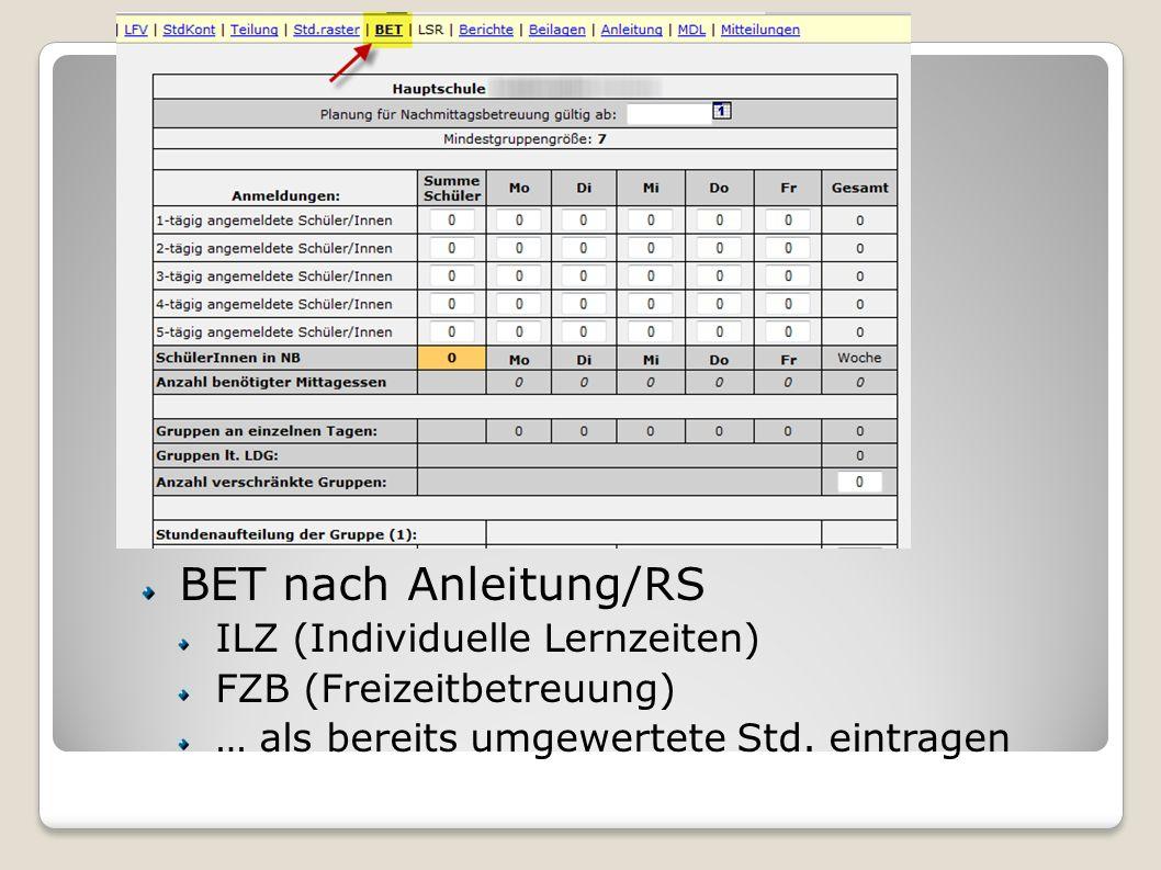Eröffnungsmeldung LFV-Status: E…Editiermodus A…Antrag auf Genehmigung N…Nicht genehmigt G…Genehmigt BET nach Anleitung/RS ILZ (Individuelle Lernzeiten
