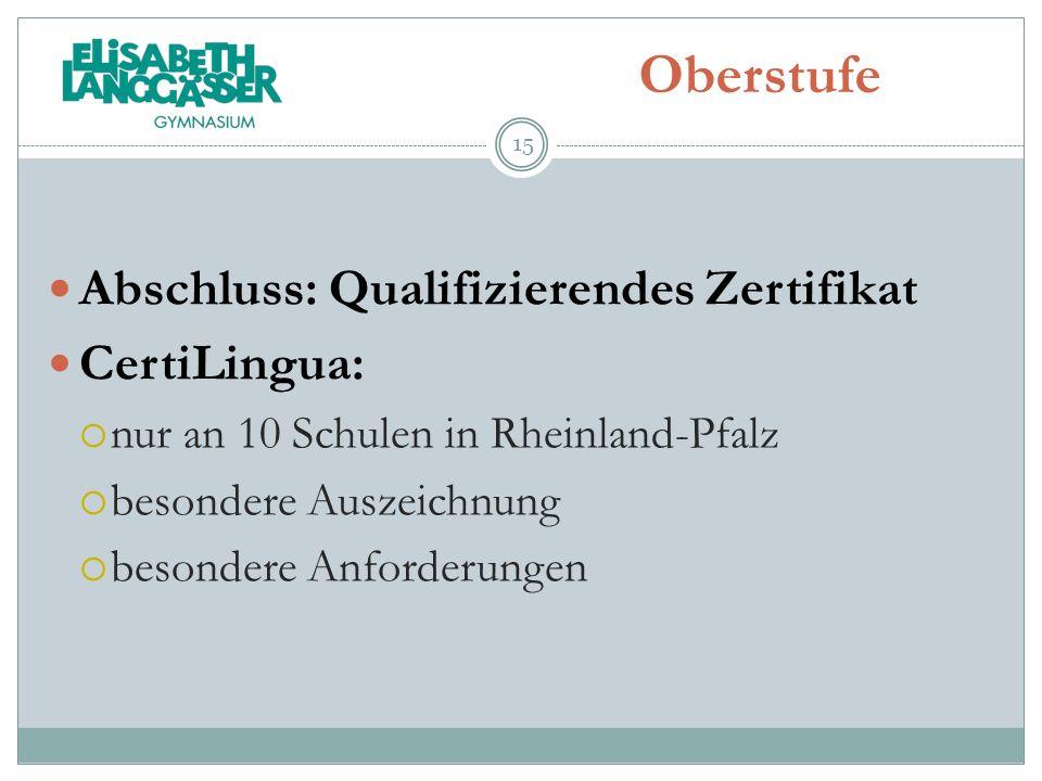 Oberstufe Abschluss: Qualifizierendes Zertifikat CertiLingua: nur an 10 Schulen in Rheinland-Pfalz besondere Auszeichnung besondere Anforderungen 15