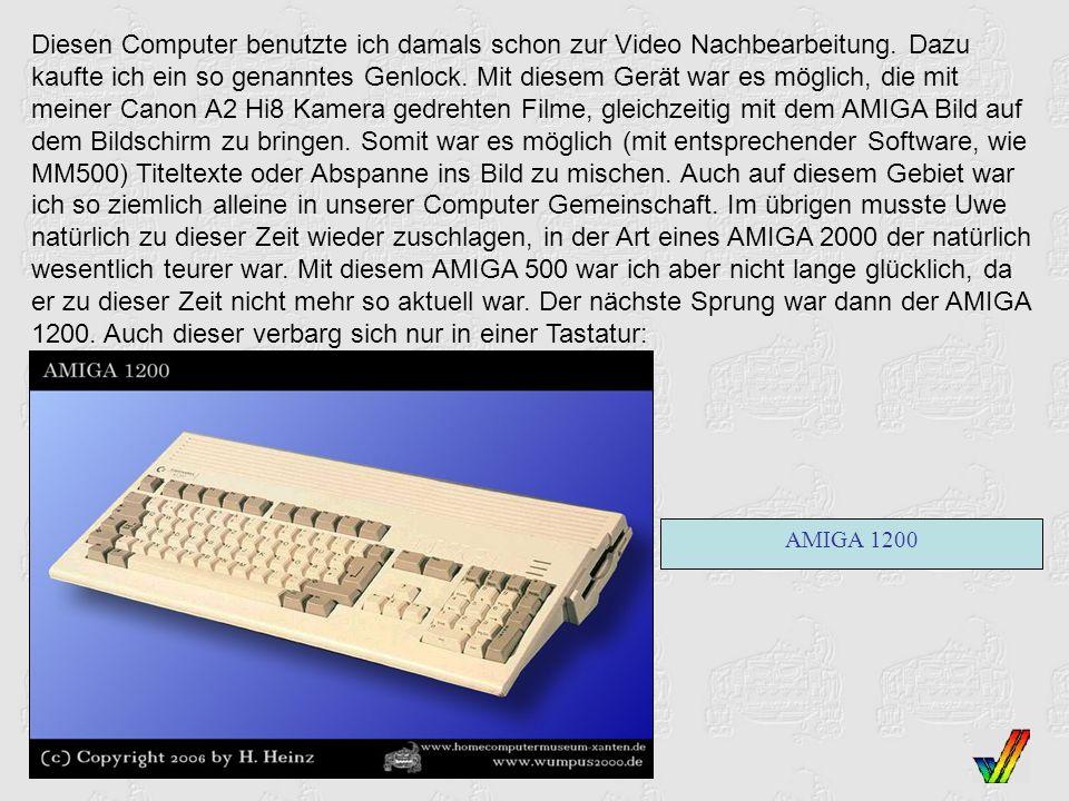 Diesen Computer benutzte ich damals schon zur Video Nachbearbeitung. Dazu kaufte ich ein so genanntes Genlock. Mit diesem Gerät war es möglich, die mi