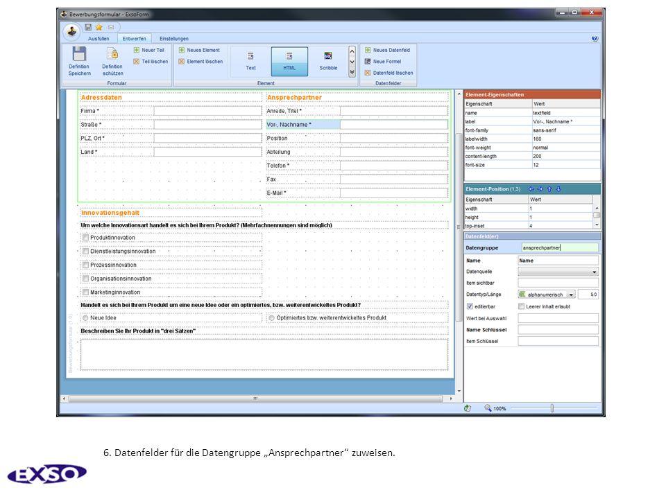 6. Datenfelder für die Datengruppe Ansprechpartner zuweisen.