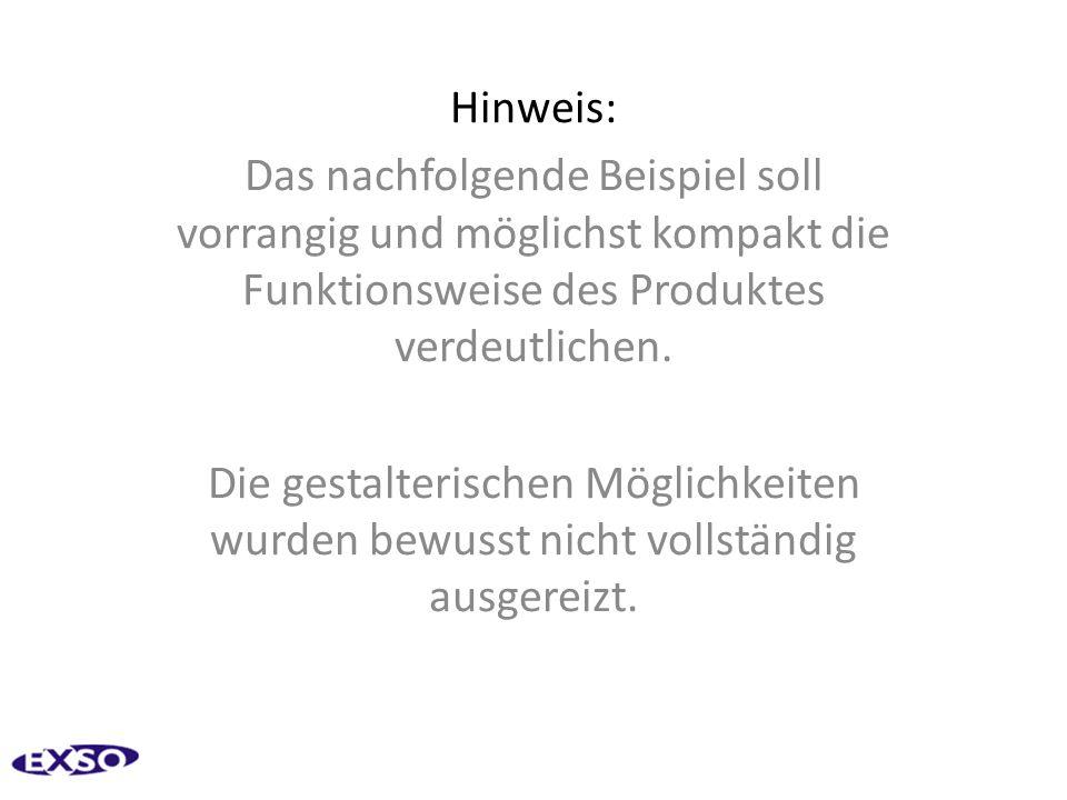 Hinweis: Das nachfolgende Beispiel soll vorrangig und möglichst kompakt die Funktionsweise des Produktes verdeutlichen.