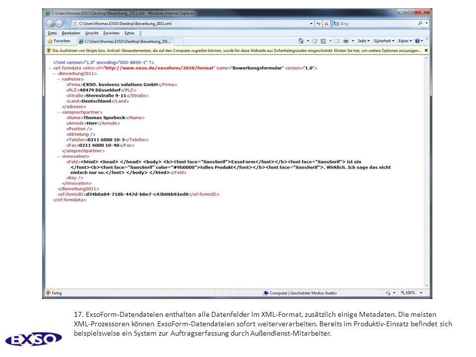 17. ExsoForm-Datendateien enthalten alle Datenfelder im XML-Format, zusätzlich einige Metadaten.
