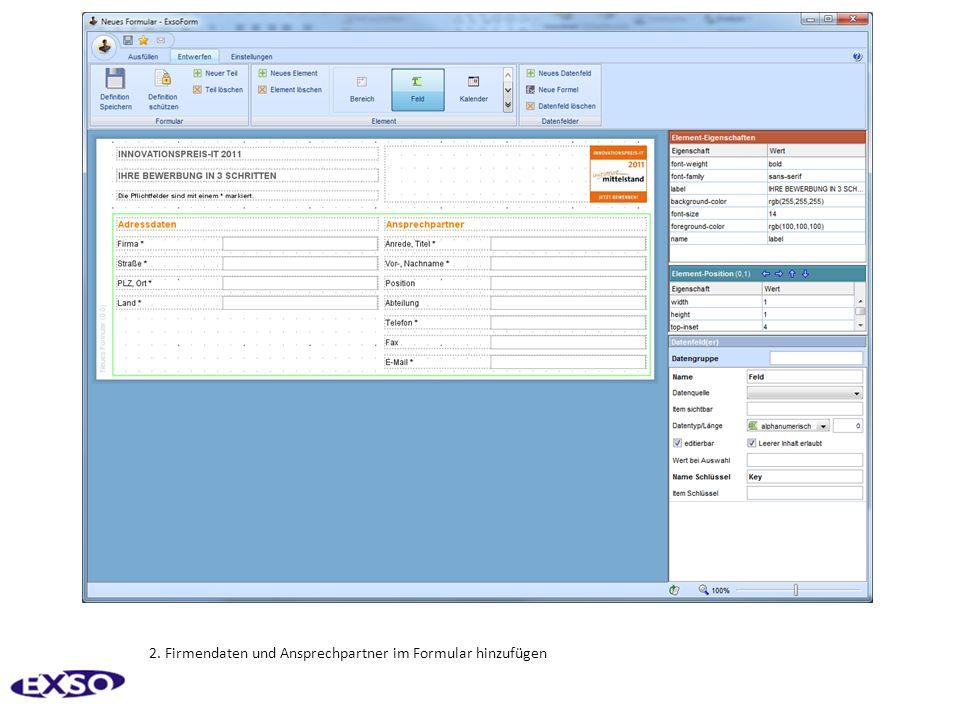2. Firmendaten und Ansprechpartner im Formular hinzufügen
