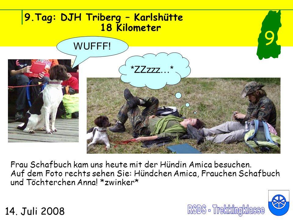 9.Tag: DJH Triberg – Karlshütte 18 Kilometer 14. Juli 2008 9 WUFFF! *ZZzzz…* Frau Schafbuch kam uns heute mit der Hündin Amica besuchen. Auf dem Foto