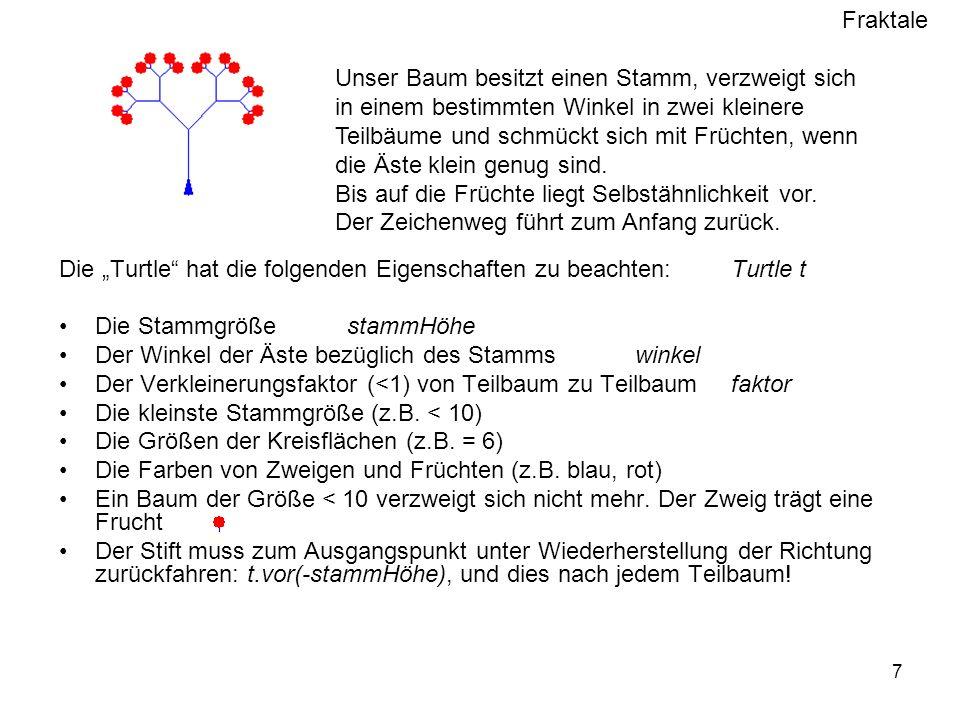 Fraktale 7 Die Turtle hat die folgenden Eigenschaften zu beachten:Turtle t Die Stammgröße stammHöhe Der Winkel der Äste bezüglich des Stamms winkel Der Verkleinerungsfaktor (<1) von Teilbaum zu Teilbaum faktor Die kleinste Stammgröße (z.B.
