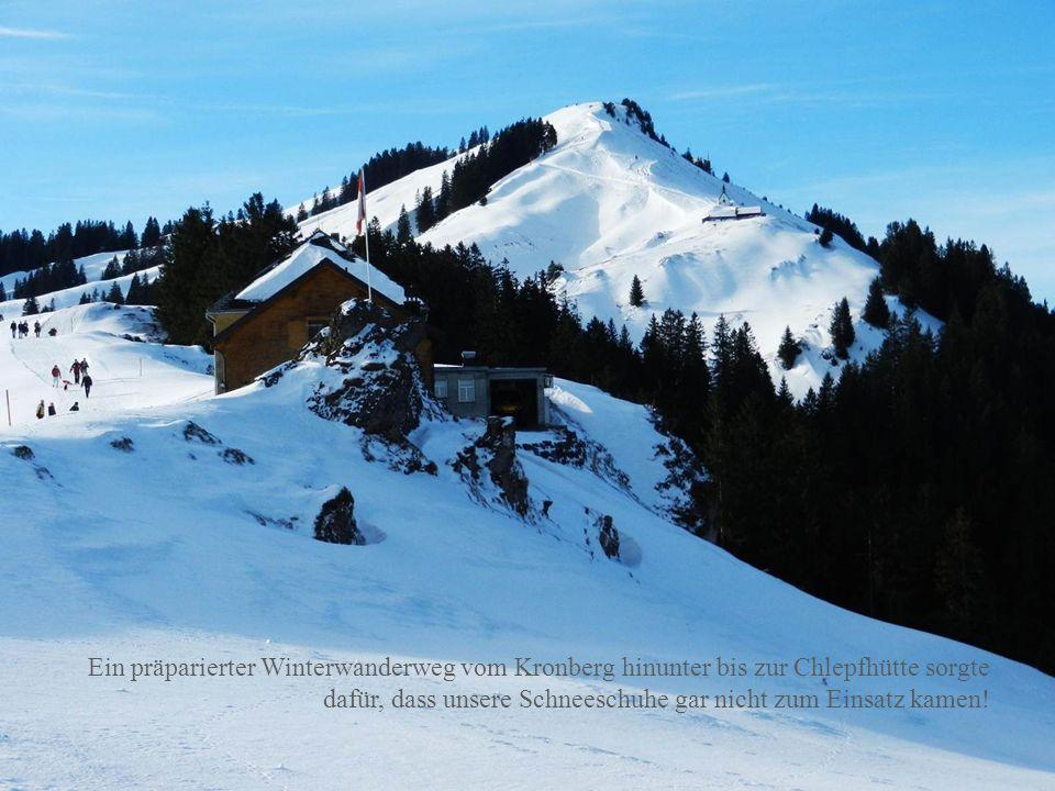 Ein präparierter Winterwanderweg vom Kronberg hinunter bis zur Chlepfhütte sorgte dafür, dass unsere Schneeschuhe gar nicht zum Einsatz kamen!