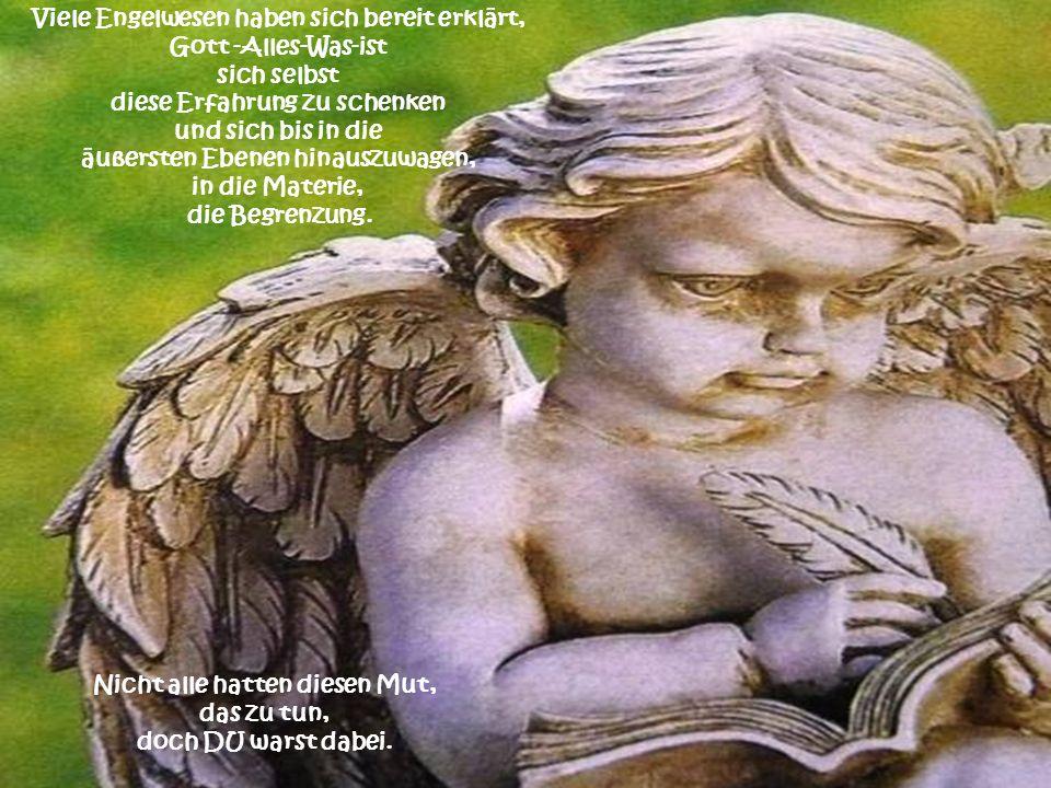Viele Engelwesen haben sich bereit erklärt, Gott -Alles-Was-ist sich selbst diese Erfahrung zu schenken und sich bis in die äußersten Ebenen hinauszuwagen, in die Materie, die Begrenzung.