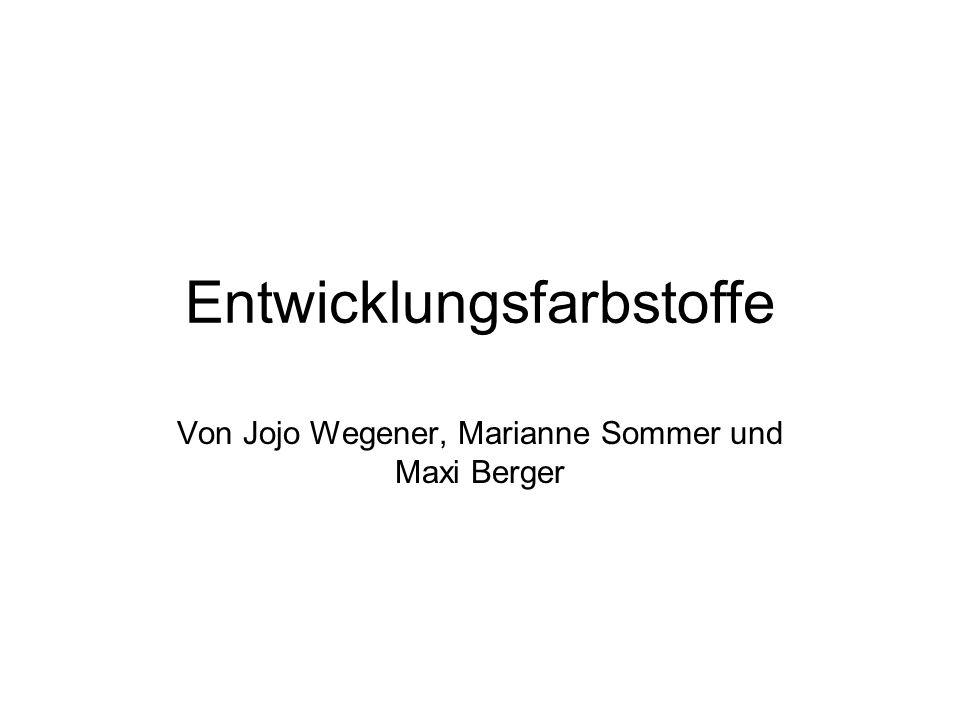 Entwicklungsfarbstoffe Von Jojo Wegener, Marianne Sommer und Maxi Berger