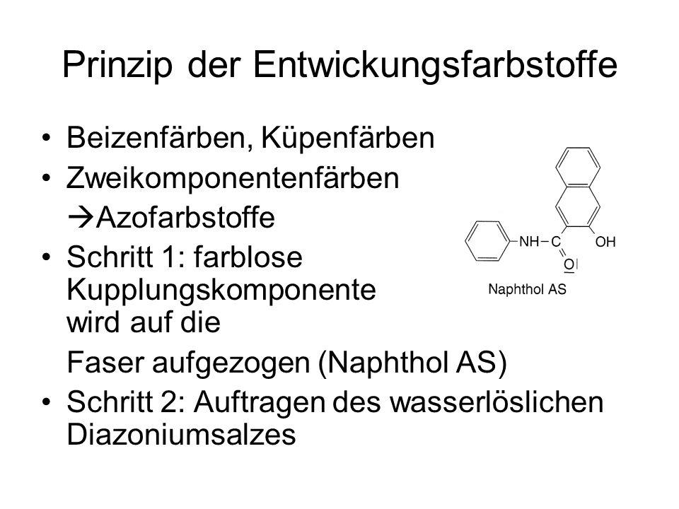 Prinzip der Entwickungsfarbstoffe Beizenfärben, Küpenfärben Zweikomponentenfärben Azofarbstoffe Schritt 1: farblose Kupplungskomponente wird auf die F