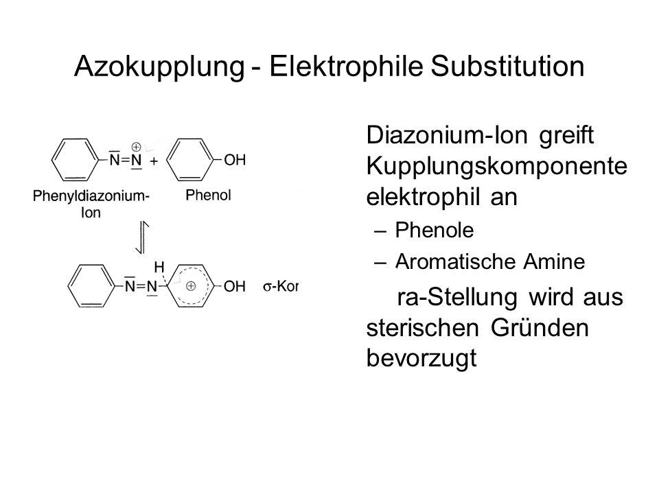 Azokupplung - Elektrophile Substitution Diazonium-Ion greift Kupplungskomponente elektrophil an –Phenole –Aromatische Amine Para-Stellung wird aus ste