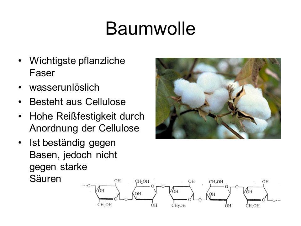 Baumwolle Wichtigste pflanzliche Faser wasserunlöslich Besteht aus Cellulose Hohe Reißfestigkeit durch Anordnung der Cellulose Ist beständig gegen Bas
