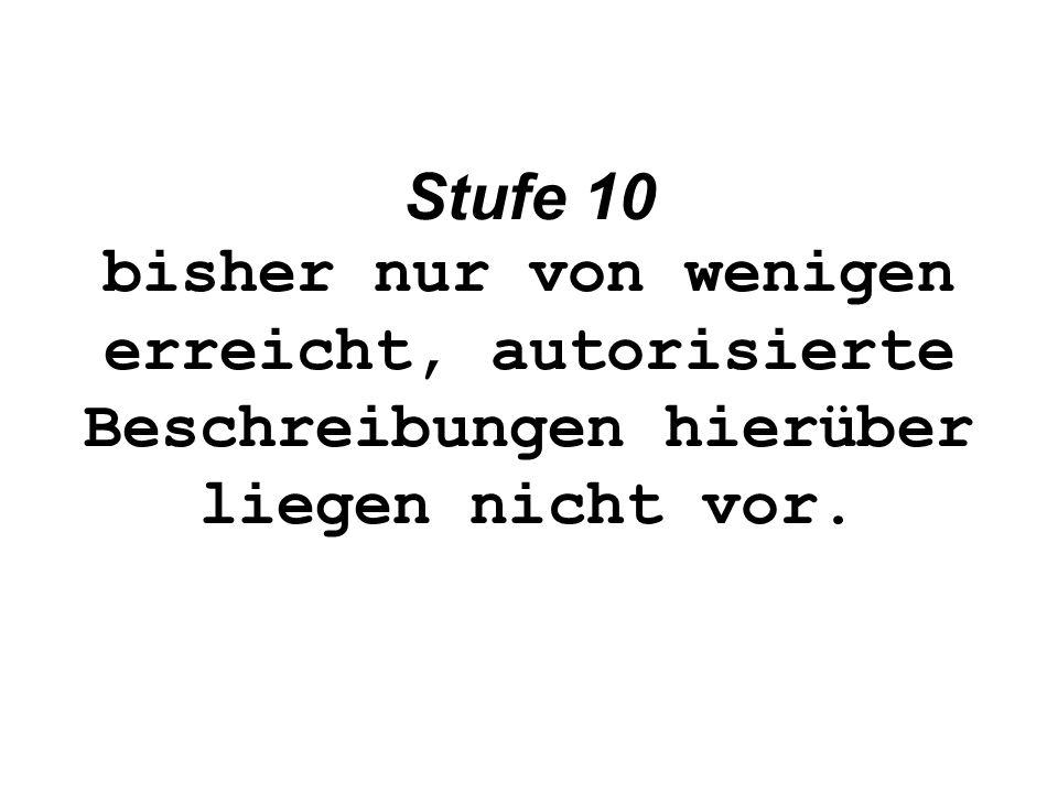 Stufe 10 bisher nur von wenigen erreicht, autorisierte Beschreibungen hierüber liegen nicht vor.
