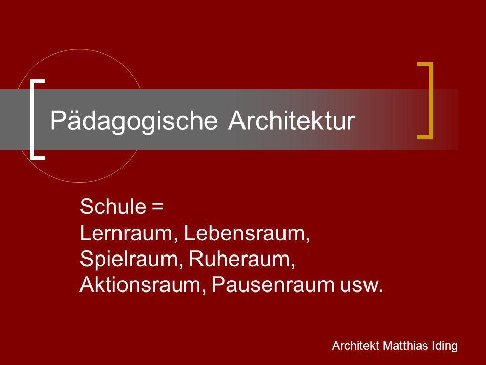 Philosophie der pädagogischen Architektur Mit und durch die Augen der Schulkinder auf ihre Umgebung sehen Wir lernen von den Schulkindern, in welchem Lebensumfeld sie am besten lernen können Die Bedürfnisse der Schulkinder an ihre Umgebung sind uns wichtig