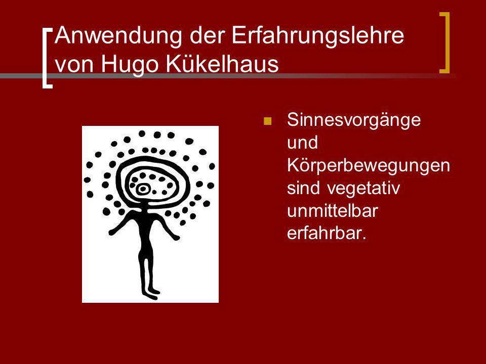 Anwendung der Erfahrungslehre von Hugo Kükelhaus Sinnesvorgänge und Körperbewegungen sind vegetativ unmittelbar erfahrbar.