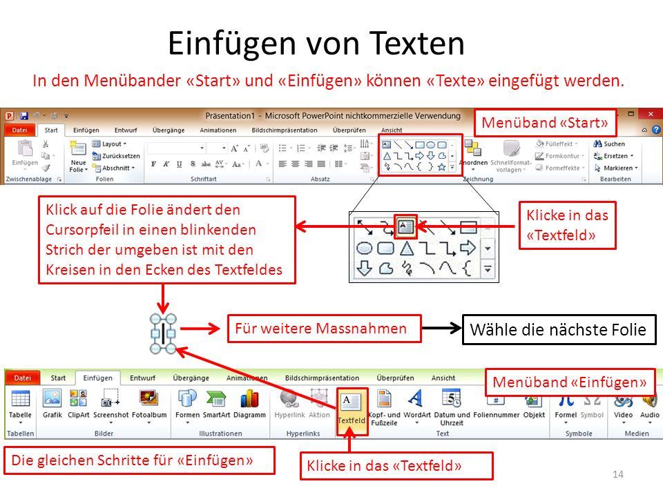 Einfügen von Texten In den Menübander «Start» und «Einfügen» können «Texte» eingefügt werden. Menüband «Start» Menüband «Einfügen» Wähle die nächste F