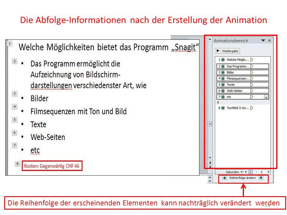 Die Abfolge-Informationen nach der Erstellung der Animation Die Reihenfolge der erscheinenden Elementen kann nachträglich verändert werden 24