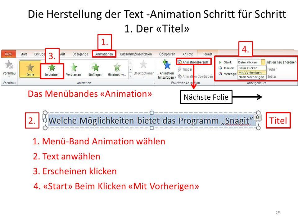 Die Herstellung der Text -Animation Schritt für Schritt 1. Der «Titel» Das Menübandes «Animation» Titel 1. 2. 3. 4. Welche Möglichkeiten bietet das Pr