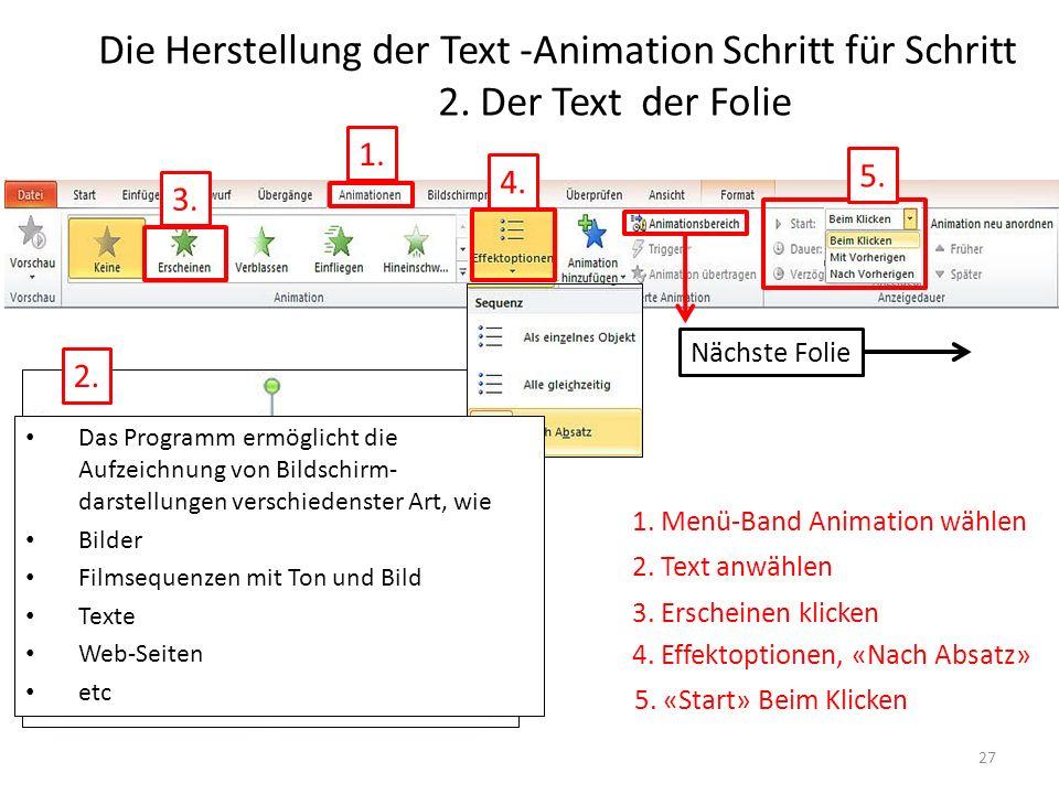 Die Herstellung der Text -Animation Schritt für Schritt 2. Der Text der Folie 1. 3. 5. Nächste Folie 1. Menü-Band Animation wählen 2. Text anwählen 3.