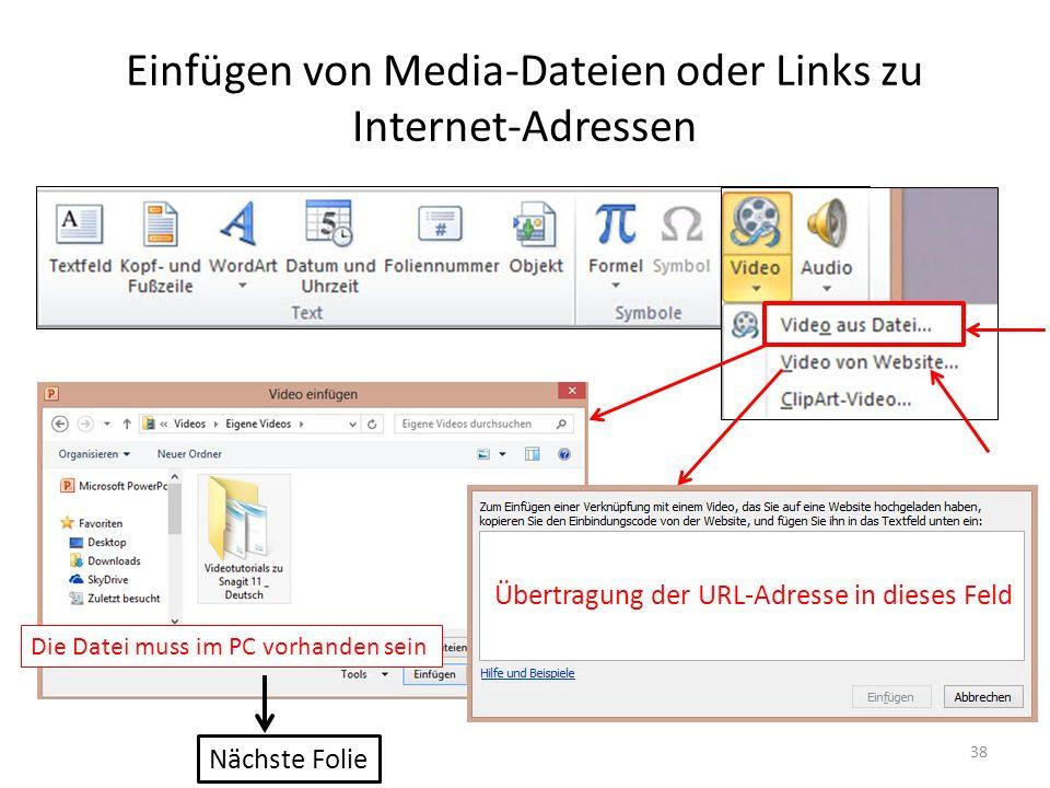 Einfügen von Media-Dateien oder Links zu Internet-Adressen 38 Übertragung der URL-Adresse in dieses Feld Nächste Folie Die Datei muss im PC vorhanden