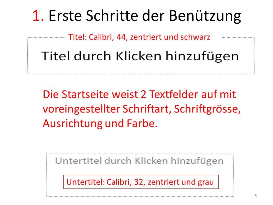 1. Erste Schritte der Benützung Die Startseite weist 2 Textfelder auf mit voreingestellter Schriftart, Schriftgrösse, Ausrichtung und Farbe. Untertite