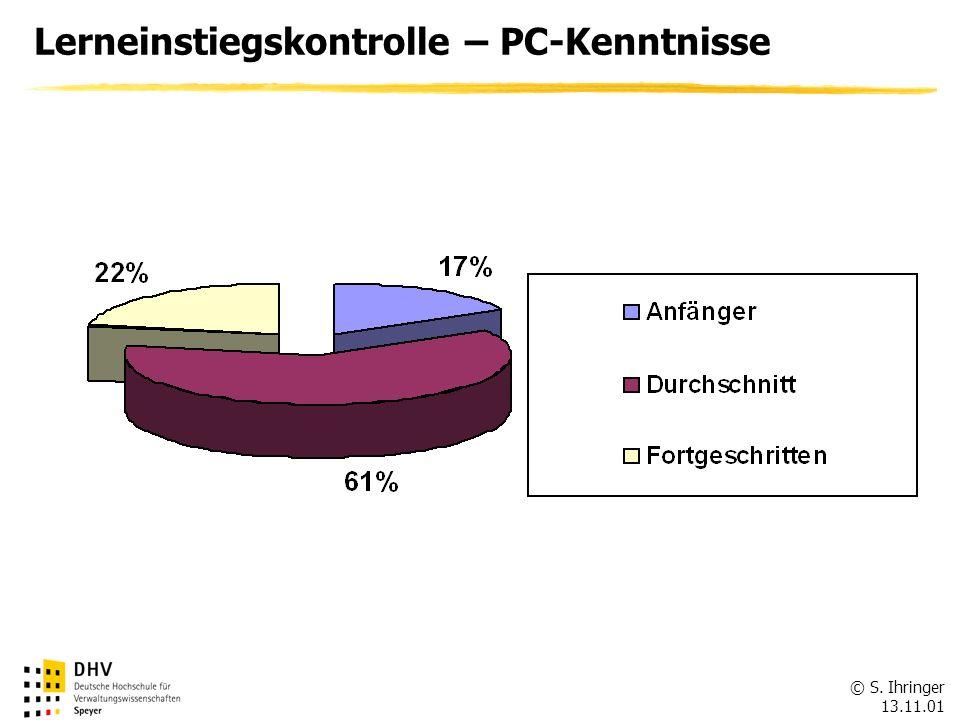 © S. Ihringer 13.11.01 Lerneinstiegskontrolle – PC-Kenntnisse