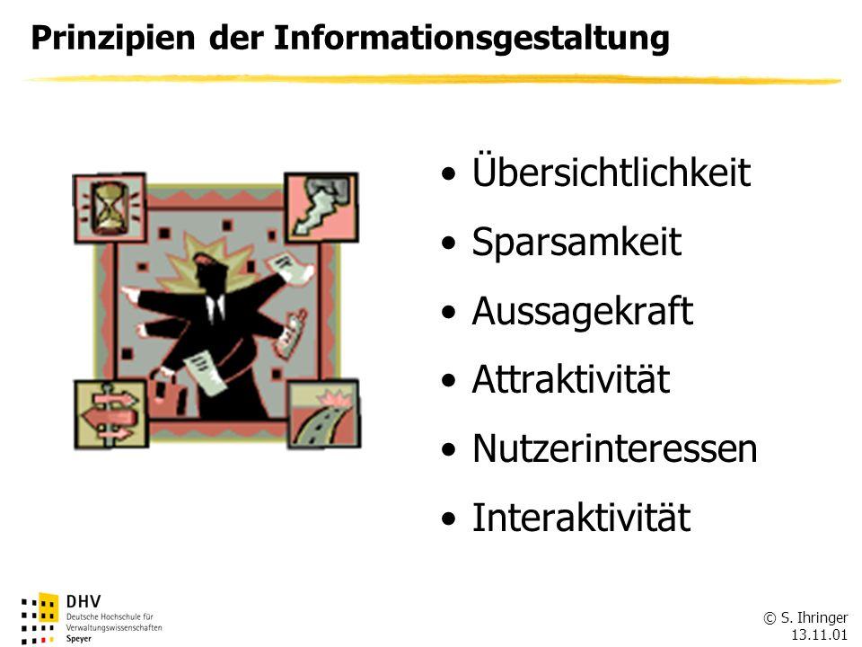 © S. Ihringer 13.11.01 Prinzipien der Informationsgestaltung Übersichtlichkeit Sparsamkeit Aussagekraft Attraktivität Nutzerinteressen Interaktivität