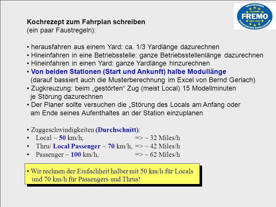 800 mm 1200 mm 1000 mm 850 mm 1000 mm 850 mm 800 mm 1200 mm 9550 mm => 955cm => 9,55m * 87 = 830,85m = Original km/h m/ 3,6s Schnellzug: 100 Km/h 27,7 m/s 1662 m/min / 87 19,1 Modellmeter/min / Faktor 6 3,18 Modellmeter / Modellminute => 9,55 Modellmeter / 3,18 ~> 3:12 Modellminuten Fahrzeit Passenger: 70 km/h 19,4 m/s 1166 m/min / 87 13,41 Modellmeter/min / Faktor 6 2,23 Modellmeter / Modellminute => 9,55 Modellmeter / 2,23 ~> 4:06 Modellminuten Fahrzeit Güterzug: 50 km/h 13,8 m/s 831 m/min / 87 9,55 Modellmeter/min / Faktor 6 1,6 Modellmeter / Modellminute => 9,55 Modellmeter / 1,6 ~> 6:00 Modellminuten Fahrzeit Rechne: Modellmeter / (X km/h / 3,6 * 60 / 87 / Faktor ) => Modellminuten Fahrzeit 100 km/h 100.000m / (60min*60s) 100.000m / 3600s 100m / 3,6s 27,7m/s