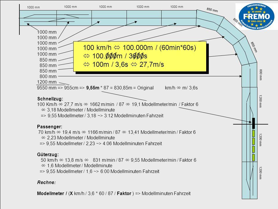 1000 mm 850 mm 800 mm 1200 mm Rangierzeiten Ausgehend vom Faktor 6 (Modellzeit) sollte pro Waggon / bzw.