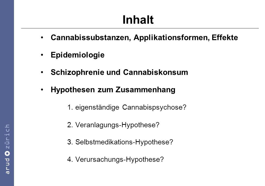 Argumente gegen die Selbstmedikations-Hypothese Substanzkonsum geht psychotischer Symptomatik häufig voraus (Hambrecht & Häfner, 1996) nach der Selbstmedikations-Hypothese müssten sich psychopathologische Symptome verbessern: in meisten Studien keine Unterschiede in der Psychopathologie zwischen Konsumenten und Nichtkonsumenten Cannabiskonsum ist nicht den Di-Stress-Symptomen angepasst (Hamera, 1995)