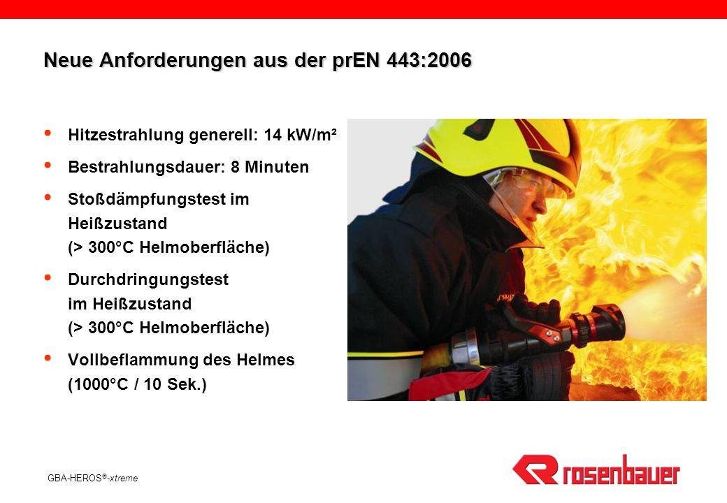 GBA-HEROS ® -xtreme Neue Anforderungen aus der prEN 443:2006 Hitzestrahlung generell: 14 kW/m² Bestrahlungsdauer: 8 Minuten Stoßdämpfungstest im Heißz