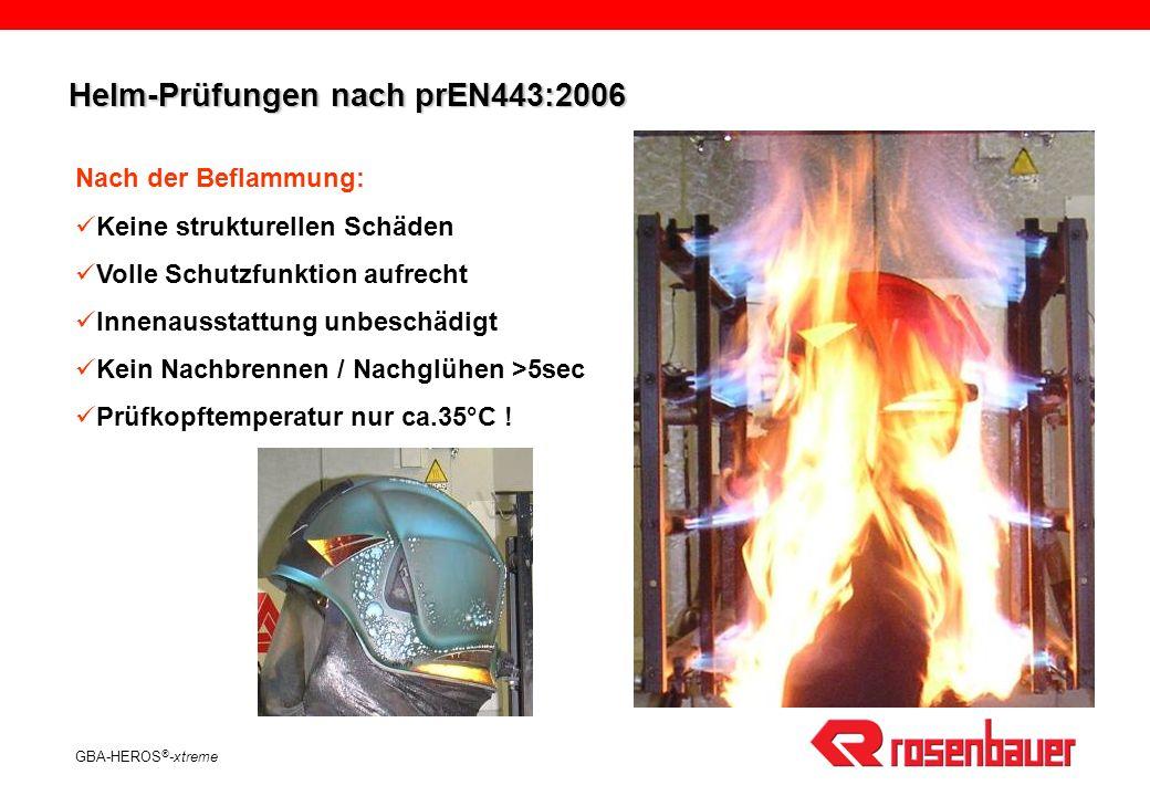 GBA-HEROS ® -xtreme Nach der Beflammung: Keine strukturellen Schäden Volle Schutzfunktion aufrecht Innenausstattung unbeschädigt Kein Nachbrennen / Nachglühen >5sec Prüfkopftemperatur nur ca.35°C .