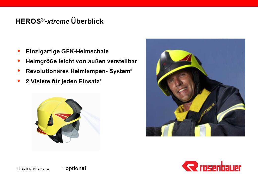 GBA-HEROS ® -xtreme HEROS ® - xtreme Überblick Einzigartige GFK-Helmschale Helmgröße leicht von außen verstellbar Revolutionäres Helmlampen- System* 2 Visiere für jeden Einsatz* * optional