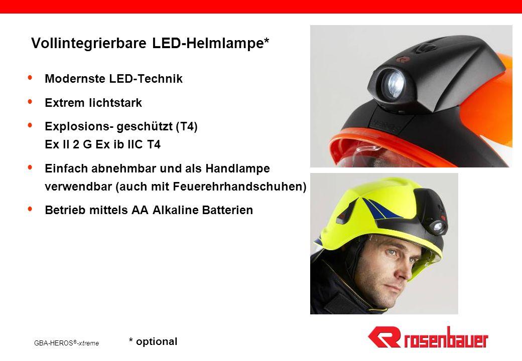 GBA-HEROS ® -xtreme HEROS ® -xtreme ist geprüft und zertifiziert nach EN 443:1997 und prEN 443:2006 CE 0158 Zertifizierungsstelle Exam/BBG Optionale Zusatzprüfung E2E3 Elektrische Isolation Optionale Zusatzprüfung ***-30°C Kopfgrößenverstellung 52-65 Integrierbare LED-Helmlampe (optional) LeistungsdatenLeistungsdaten